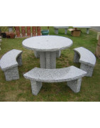 Round Table 4 Curved Benches